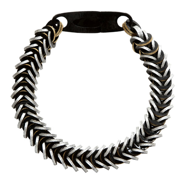 Black Leather Necklace by Mojiana
