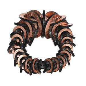 Rose gold leather bracelet by Mojiana