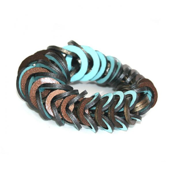Blue brown leather bracelet by Mojiana