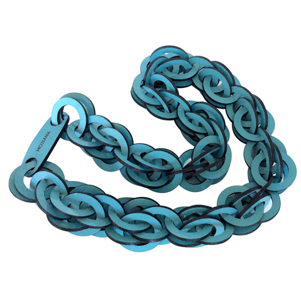 Blue Long Leather Necklace by Mojiana
