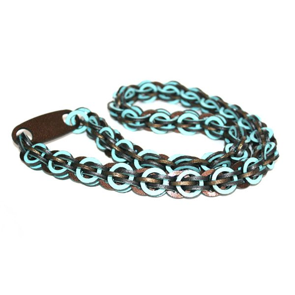 Blue Brown Long Leather Necklace by Mojiana