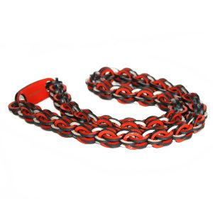 Orange Long Leather Necklace by Mojiana
