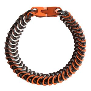 Orange & Pearl Silver Leather Necklace by Mojiana