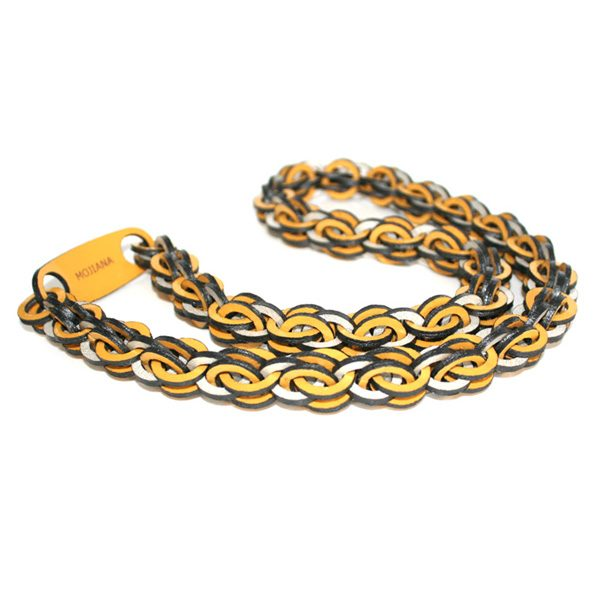 Yellow Silver Long Leather Necklace by Mojiana