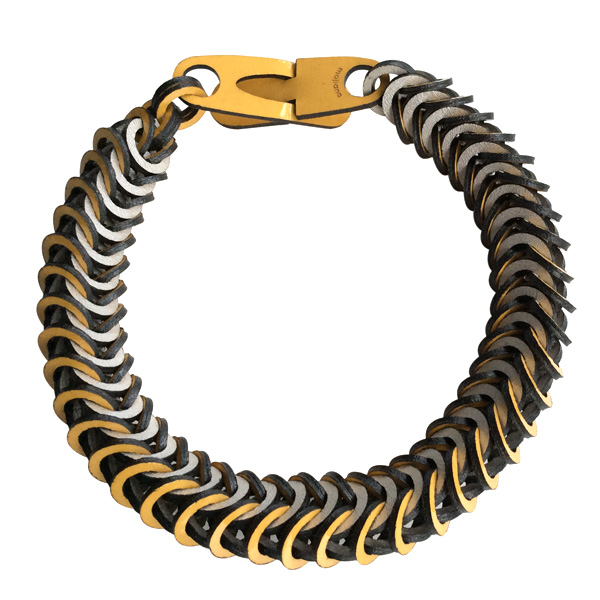 Yellow & Pearl Silver Leather Necklace by Mojiana