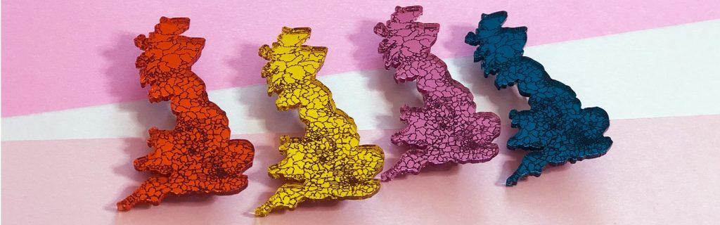 Acry;ic Jewellery by Mojiana, Britain Map