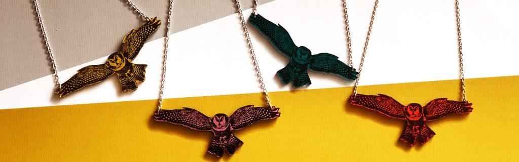 Acrylic Jewellery by Mojiana Barn Owls