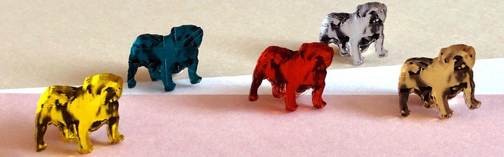 Acrylic Jewellery by Mojiana, British Bulldog Brooches