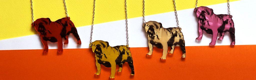 Acrylic Jewellery by Mojiana, British Bulldogs