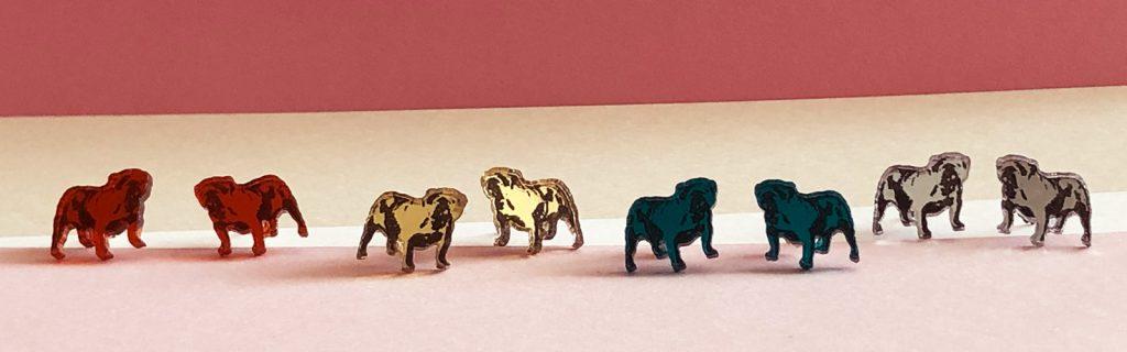 Acrylic Jewellery by Mojiana English Bulldog earrings