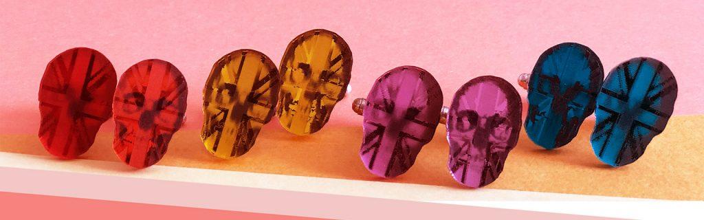 Acrylic Jewellery by Mojiana Skull cufflinks