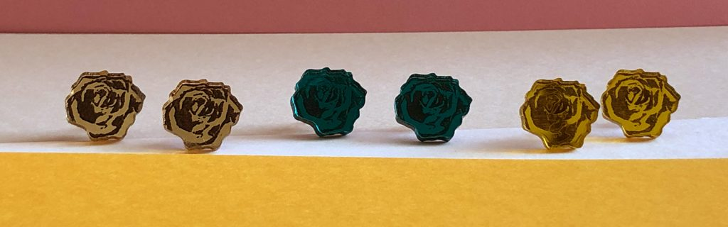 Acrylic Jewellery by Mojiana rose earrings