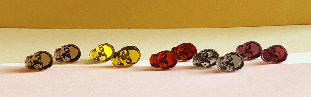 Acrylic Jewellery by Mojiana skull earrings