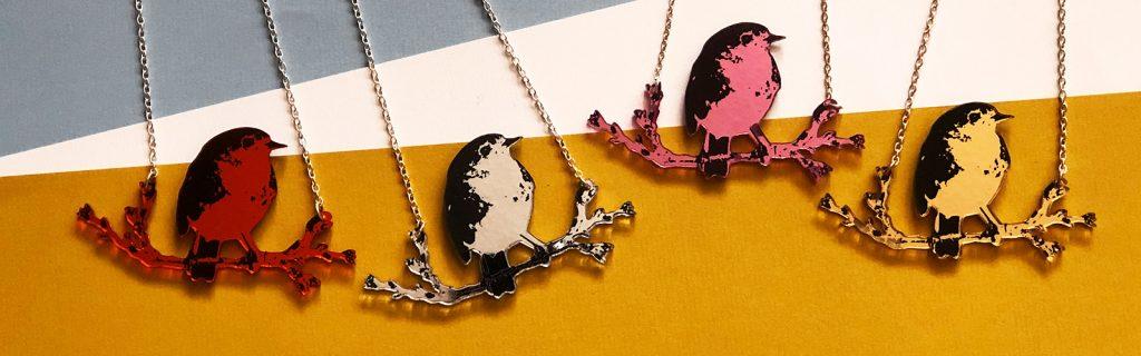 Acrylic Jewellery by Mojiana,Robin Red Breast