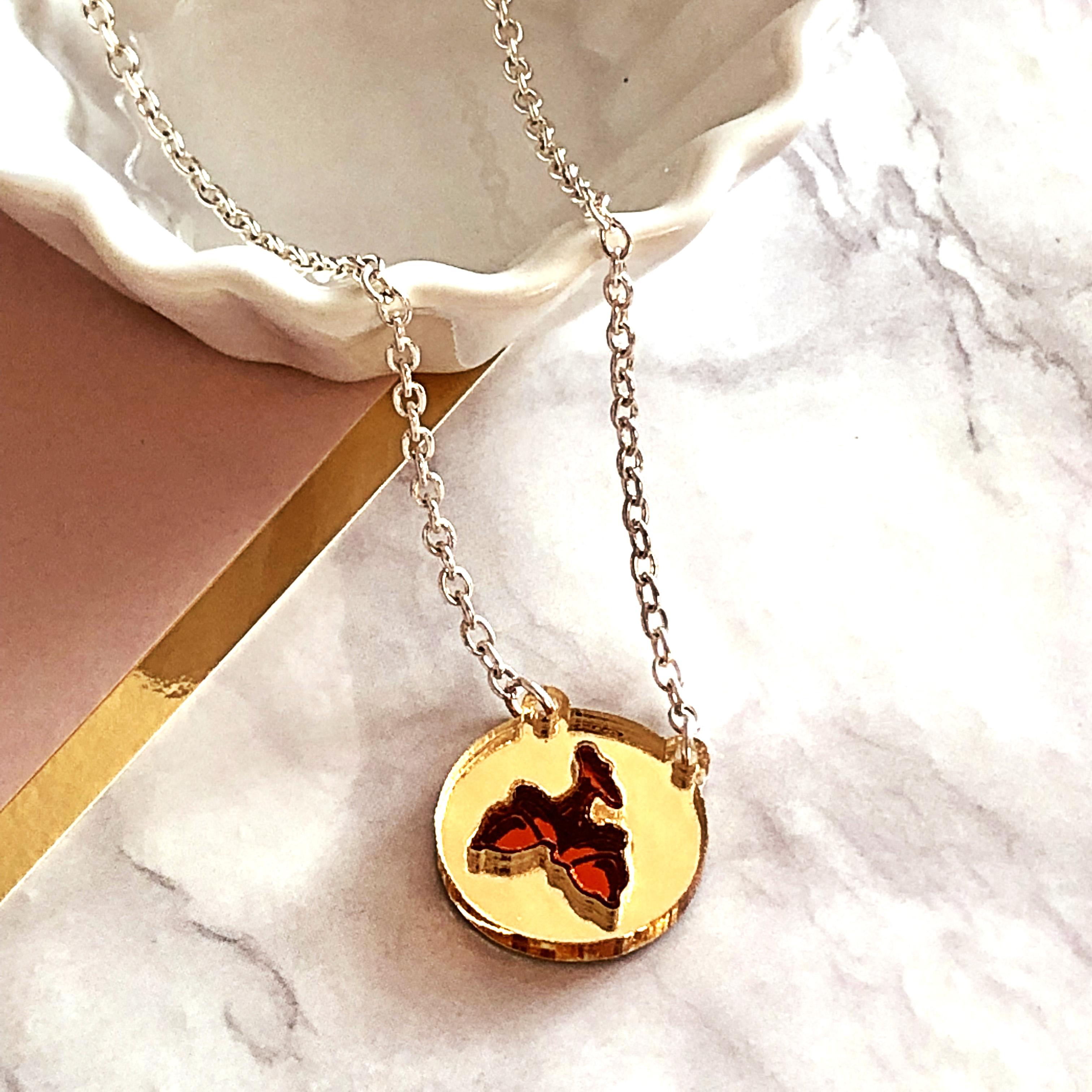 Acrylic Jewellery by Mojiana-Inlaid Acorn Necklace- Gold & Orange